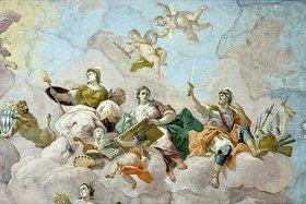 Bartholomäus Altomonte: Allegorie der Kriegskunst mit einem Selbstporträt und Signatur Altomontes (Detail eines Deckengemäldes)