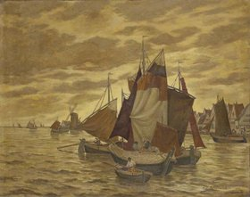 Johnna Dill-Malburg: Holländische Küstenlandschaft mit Segelbooten