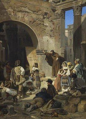 Ferdinand Piloty d.J.: Kapuzinerpredigt im Porticus Octaviae in Rom