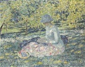 Frederick Karl Frieseke: Frau mit einem Korb, im Park sitzend