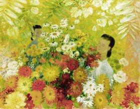 Unbekannter Künstler: Zwei Mädchen mit Blumen