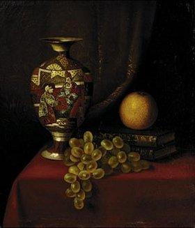 Thomas Henry Hope: Stilleben mit Vase,Trauben und Büchern