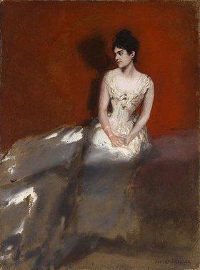 Albert von Keller: Irene von Keller, die Frau des Künstlers, vor rotem Grund