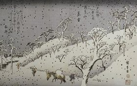 Ando Hiroshige: Schneefall in den Bergen bei Asuka. Aus der Serie 'Eight Views of Environs of Edo'