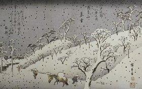 Ando Hiroshige: Schneefall in den Bergen bei Asuka. Aus der Serie 'Eight Views of Environs of Edo'