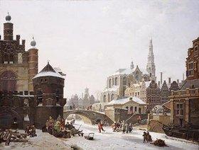 Jan Hendrik Verheyen: Capriccio von einer Stadt mit zugefrorenem Kanal
