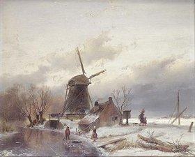 Andreas Schelfhout: Winterlandschaft mit Windmühle