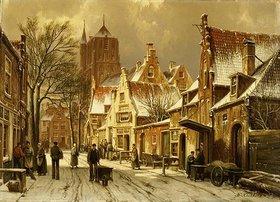 Willem Koekkoek: Winterliche Straßenszene