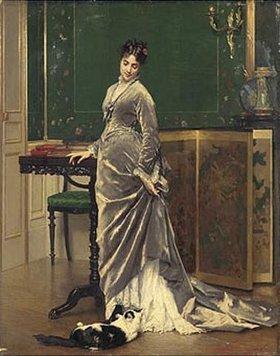 Gustave Léonhard de Jonghe: Dame mit verspielter Katze