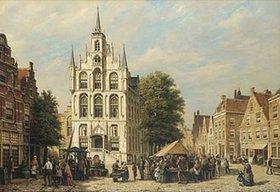 Willem Koekkoek: Auf einem holländischen Marktplatz