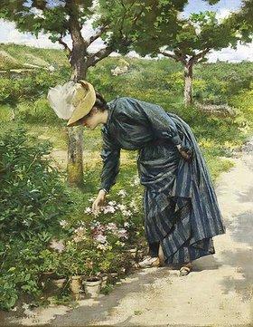 René-Joseph Gilbert: Ein Dame beim Blumen pflücken
