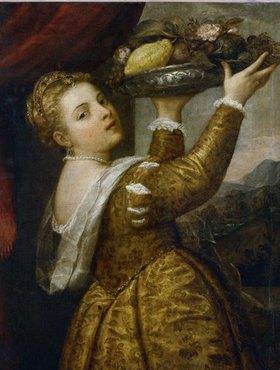 Tizian (Tiziano Vecellio): Mädchen mit Fruchtschale