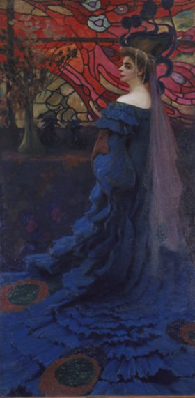 Kazimierz Stabrowski: Frau vor einem Glasfenster (Der Pfau). Bildnis der Zofia Borucinsk