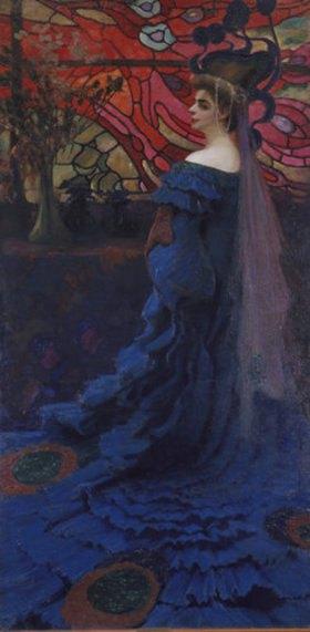 Kazimierz Stabrowski: Frau vor einem Glasfenster (Der Pfau). Bildnis der Zofia Borucinska
