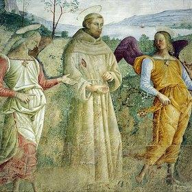 Tiberio d'Assisi: Franziskus wird von zwei Engeln nach Portiunkula geführt