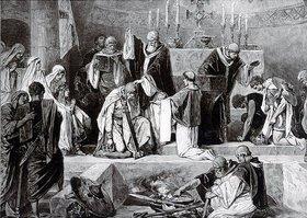 Taufe des Merowinger Königs Chlodwig 496 durch Bischof Remigius von Reims