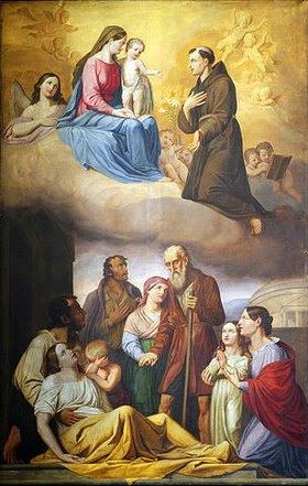 Anton Psenner: Antoniusaltar: Der Hl. Antonius von Padua als Fürbitter vor Maria und dem Jesuskind