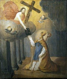 Nikolauslegende: der Heilige erhält das Neue Testament von Christus (Emporenbrüstung)