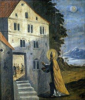 Nikolauslegende: der Heilige schenkt drei armen Mädchen goldene Äpfel (Emporenbrüstung)