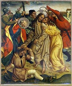 Jan Pollak: Gefangennahme Jesu am Ölberg, Petrus schlägt Malchus ein Ohr ab. (Hochaltarflügel)