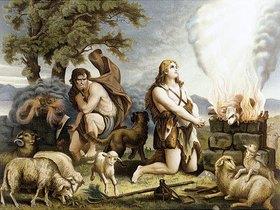 Kain und Abel opfern ein Lamm (Allioli Bibel)