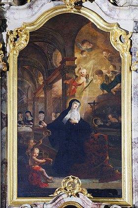 Peter Anton Lorenzoni: Heilige Walburga. Linker Seitenaltar