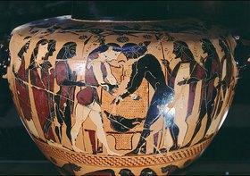 Griechisch: Peleus ringt mit Atalante bei der Leichenfeier des Zelias vor dem Fell des Kalydonischen Ebers, Vase um 540 v. Chr., von Hydra