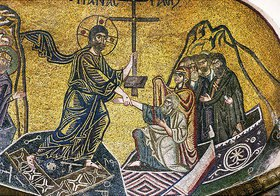Höllenfahrt Christi (Descensus Christi ad Inferos), vor ihm Adam und Eva