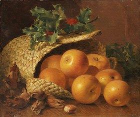 Eloise Harriet Stannard: Stillleben mit Äpfeln, Haselnüssen und Stechpalme