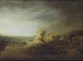 Rembrandt van Rijn: Landschaft mit langer Bogenbrücke