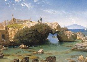 Carl Frederick Aagaard: Eine felsige Küste mit dem Vesuv im Hintergrund