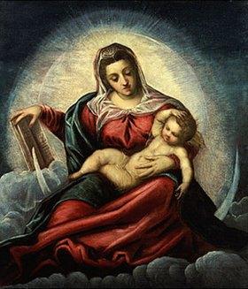 Tintoretto (Jacopo Robusti): Madonna mit Kind in einer Mandorla mit dem Buch der Weisheit. (o.J.)