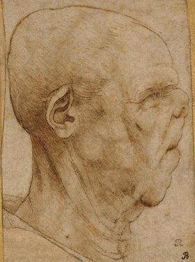 Leonardo da Vinci: Karikatur eines Männerkopfes im Profil