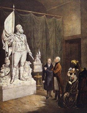Unbekannter Künstler: Kaiser Franz I. betrachtet ein Denkmal von Andreas Hofer (Tiroler Freiheitskämpfer). 18. Jahrhundert