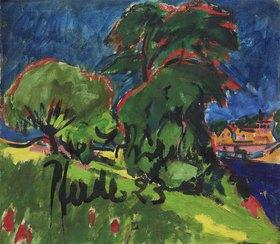 Ernst Ludwig Kirchner: Landschaft (Rückseite von 'Drei Pferde')