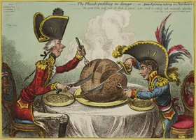 James Gillray: 'The Plumb-Pudding in danger'