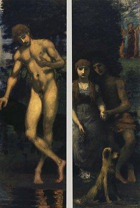 Hans von Marées: Triptychon Die Werbung, rechte Seite: Narziß, linke Seite: Liebespaar/Verlobung