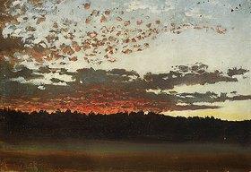 Per Daniel Holm: Sonnenuntergang über einer Sumpf- und Waldlandschaft (Schweden)