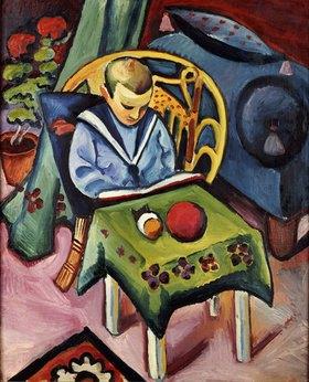 August Macke: Junge mit Buch und Spielsachen
