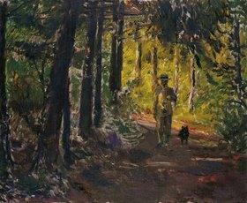 Max Slevogt: Mann auf dem Waldweg