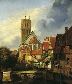 Friedrich Wilhelm Harsewinkel: Ansicht der Überwasserkirche zu Münster von Südosten