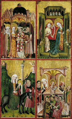 Konrad von Soest: Altarflügel mit der Vermählung Marias, der Verkündigung, der Flucht nach Ägypten und dem 12-jährigen Jesus im Tempel