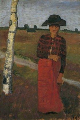 Paula Modersohn-Becker: Bäuerin an einer Birke