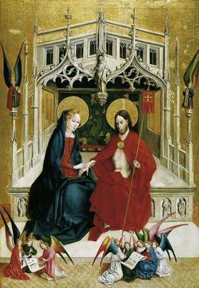Johann Koerbecke: Marienfelder Altar (Innenseite, rechter Flügel): Begegnung von Christus und Maria