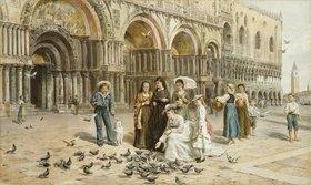 George Goodwin Kilburne: Tauben auf dem Markusplatz in Venedig