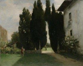 Friedrich August von Kaulbach: Vor einer italienischen Villa mit Zypressen