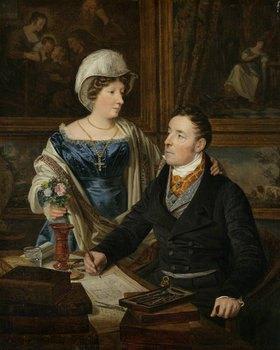 Ferdinand Georg Waldmüller: Bildnis eines Kartographen mit seiner Frau