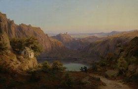 Heinrich Funk: Abendliche Landschaft mit See und Kapelle