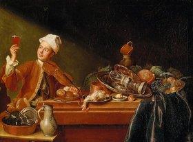 Peter Jakob Horemans: Stilleben mit Geigenspieler
