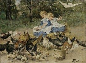 Hans Thoma: Zwei kleine Mädchen hühnerfütternd